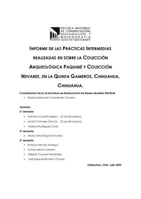 Informe de las Prácticas Intermedias realizadas en la Colección Arqueológica Paquimé y Colección Nevares, en la Quinta Gameros, Chihuahua, Chihuahua