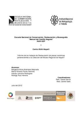 Informe de los trabajos de restauración de piezas cerámicas pertenecientes a la colección del Museo Regional de Nayarit
