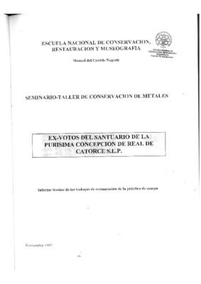 Fichas de registro de la colección de exvotos del Santuario de la Purísima Concepción Real de Catorce, San Luis Potosí