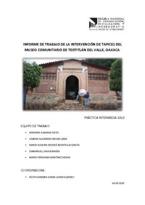 Informe de trabajo de la intervención de tapices del Museo Comunitario de Teotitlán del Valle, Oaxaca