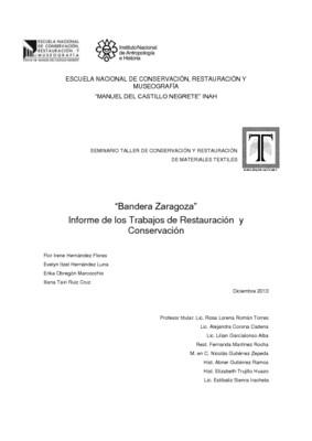 Bandera Zaragoza : Informe de los Trabajos de Restauración y Conservación