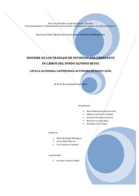 Informe de los trabajos de intervención emergente en libros del Fondo Alfonso Reyes