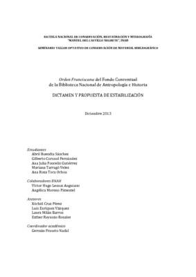 Orden Franciscana del Fondo Conventual de la Biblioteca Nacional de Antropología e Historia