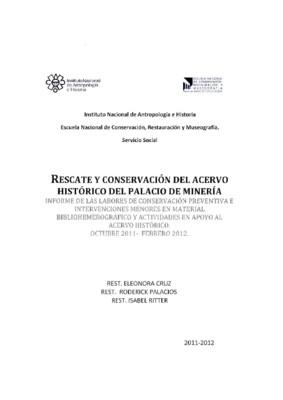 Rescate y conservación del Acervo Histórico del Palacio de Minería
