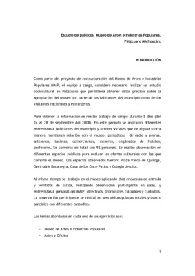 Estudio de públicos, Museo de Artes e Industrias Populares, Pátzcuaro Michoacán