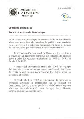 Estudios de público sobre el Museo de Guadalupe