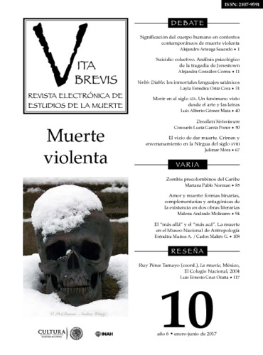 Vita Brevis Num. 10 (2017) Muerte violenta