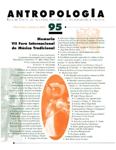 Antropología Num. 95 (2013) Memoria VII Foro Internacional de Música Tradicional