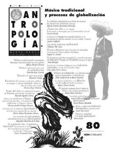Antropología Num. 80 (2007) Música tradicional y procesos de globalización