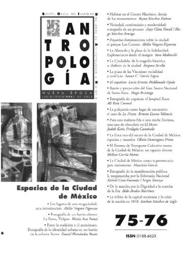 Antropología Num. 75-76 (2004) Espacios de la Ciudad de México
