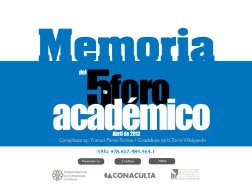 Memorias del 5to Foro Académico