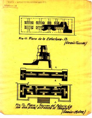 Plano y sección del Palacio de los dos pisos, enfrente del templo V