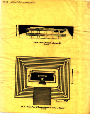 """Plano del templo V mostrando los cuartos en el """"peine"""""""