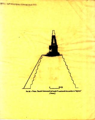"""Sección transversal del templo V mostrando los cuartos en """"el peine"""""""