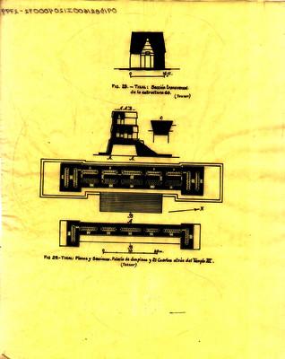 Plano y secciones. Palacio de dos pisos y 21 cuartos atrás del templo III