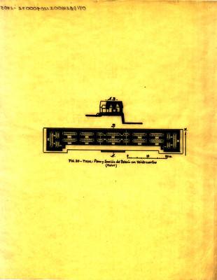 Tikal: Plano y sección del plano con veinte cuartos