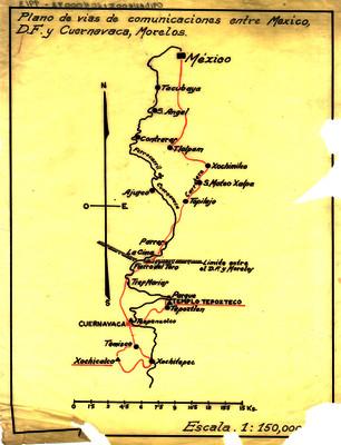 Plano de vías de comunicación entre México, D.F. y Cuernavaca, Morelos