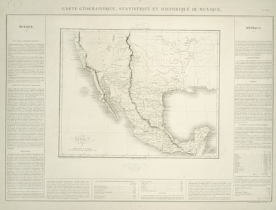 Carte Géographique, Statistique et Historiqué du Mexique