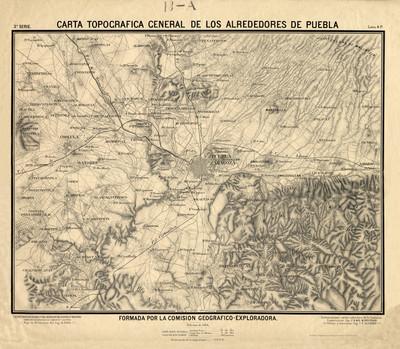 Carta topográfica general de los alrededores de Puebla