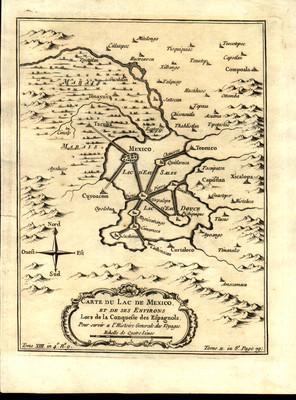 Carte du Lac de Mexico et de ses Environs Lors de la Conquete des Espagnols