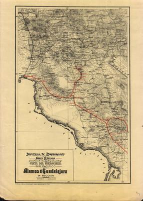 Carta del Ferrocarril Sur Pacífico. Álamos á Guadalajara. 1a Sección