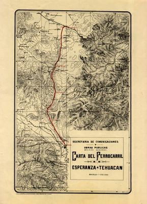 Carta del Ferrocarril de Esperanza a Tehuacán