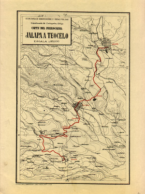 Carta del Ferrocarril Jalapa a Teocelo