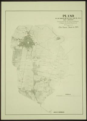 Plano de los canales que hay en el sur del Valle de México
