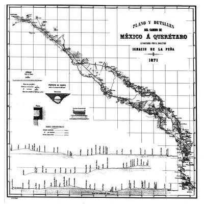 Plano y detalles del camino de México á Querétaro