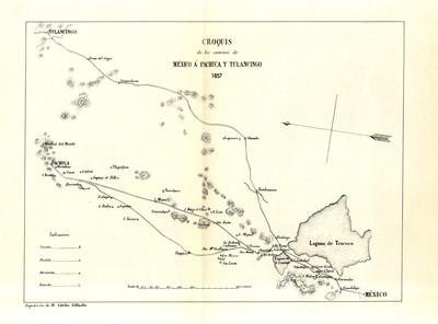 Croquis de los caminos de México á Pachuca y Tulancingo