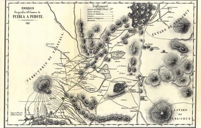Croquis geográfico del camino de Puebla a Perote