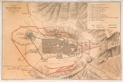 Mapa de Querétaro y sus alrededores hacia finales del siglo