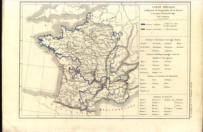 Carte spéciale indiquant la Géographie de la France à la mort de Henri III, 1589