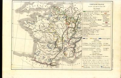 Carte de France en 1715, à la mort de Louis XIV