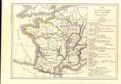 Carte des principaux vignobles de la France