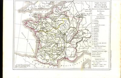 Croquis d'une carte des races bovines de la France