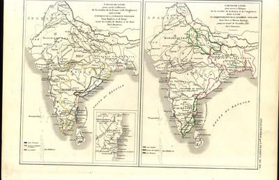 Carte de l'Inde pour servir à I'Histoire de la rivalité de la France  et de l'Angleterre