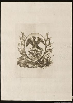 Sello impreso del diseño del Escudo de Armas de la Ciudad de México