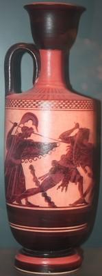 Hidria y Lecito con escenas del héroe Heracles