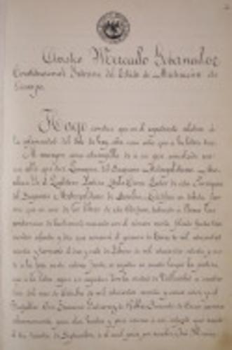 Certificación del registro de bautizo de José María Teclo Morelos y Pavón.