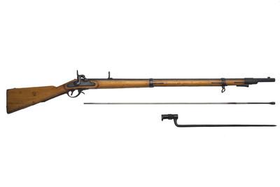 Fusil con llave de percusión y cañón de ánima rayada, con baqueta y bayoneta