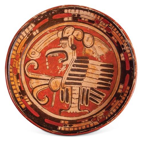 Cajete trípode con decoración de un ave