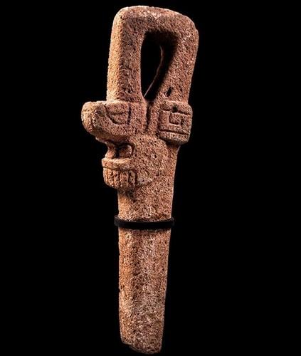 Escultura en forma de serpiente sobre cráneo humano