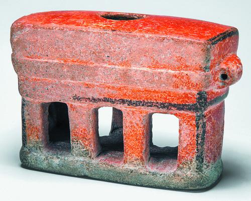 Recipiente miniatura con forma de templo maya