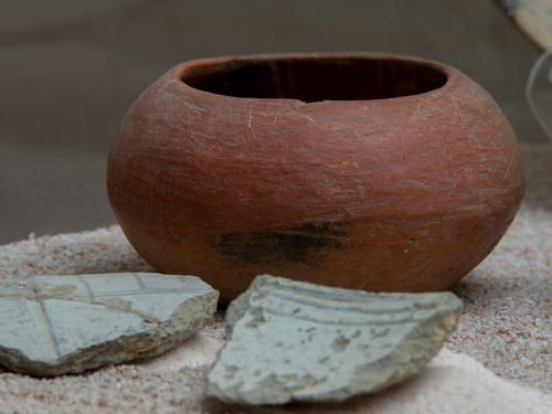 Tecomate y fragmentos de cerámica Canoas White