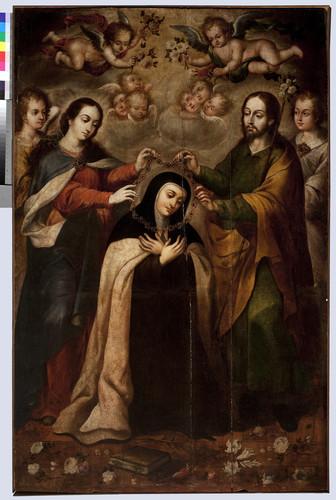 Santa Teresa recibiendo el collar de la Orden