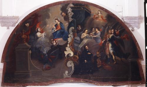 San Estanislao recibe la orden de la Virgen de entrar a la Compañia y recibe la comunión de manos de los ángeles
