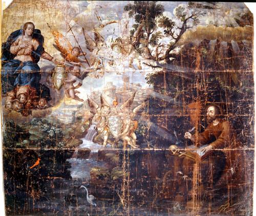 San Ignacio escribe las Constituciones en la cueva de Manresa
