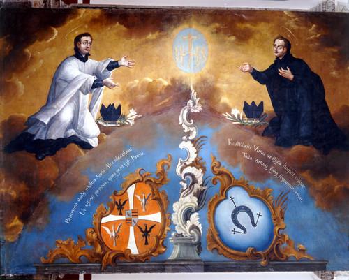 San Luis Gonzaga y san Estanislao de Kostka  adorando el monograma de Jesús