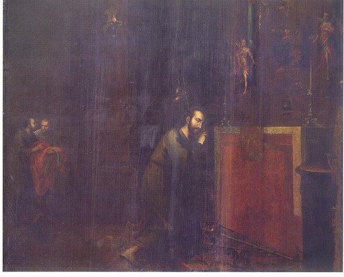 San Ignacio velando sus armas ante la Virgen de Monserrat